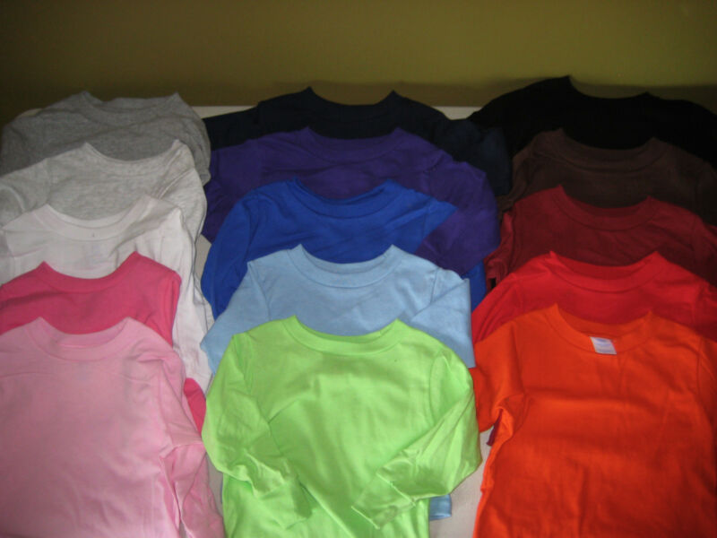 100% Cotton Jersey Long Sleeve T Shirt Blanks Soft Toddler 2T 3T 4T 5/6T COLORS