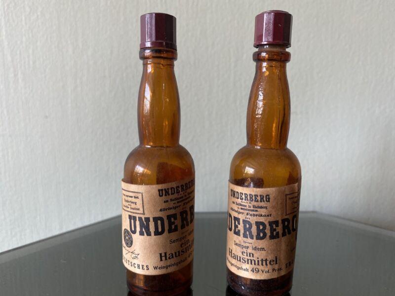 Pair Of Vintage Brown Glass 1970s Underberg Mini Whiskey Bottles
