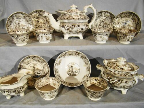Rare Antique Staffordshire Sepia Brown Transfer Tea Set 15 Pieces 1813-1830