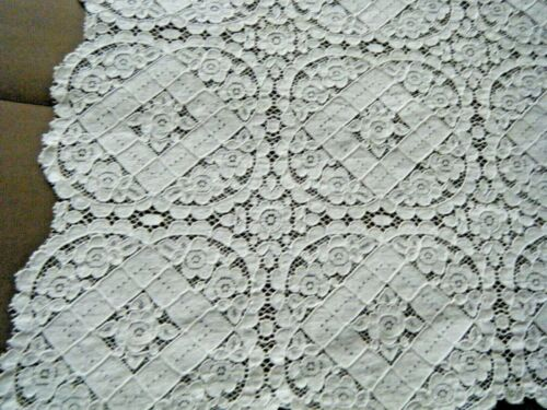 Antique French old Alencon lace table dresser topper runner home decor