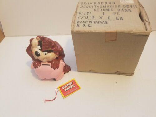 Taz Bank Looney Tunes Tasmanian Devil Pig Bank NIB Ceramic 1989 Vintage Rare
