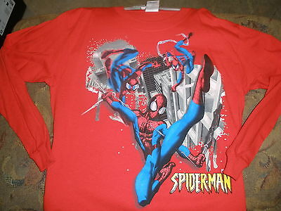 NEW boys long sleeve spiderman t-shirt XL red