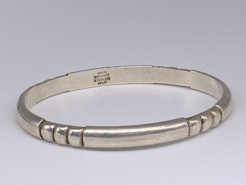 "Kalo Antique Hand Wrought Sterling Silver Twist Bangle Bracelet 7"""