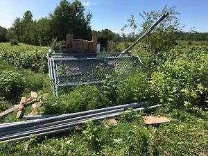 Chain link fence, 3 gates and poles