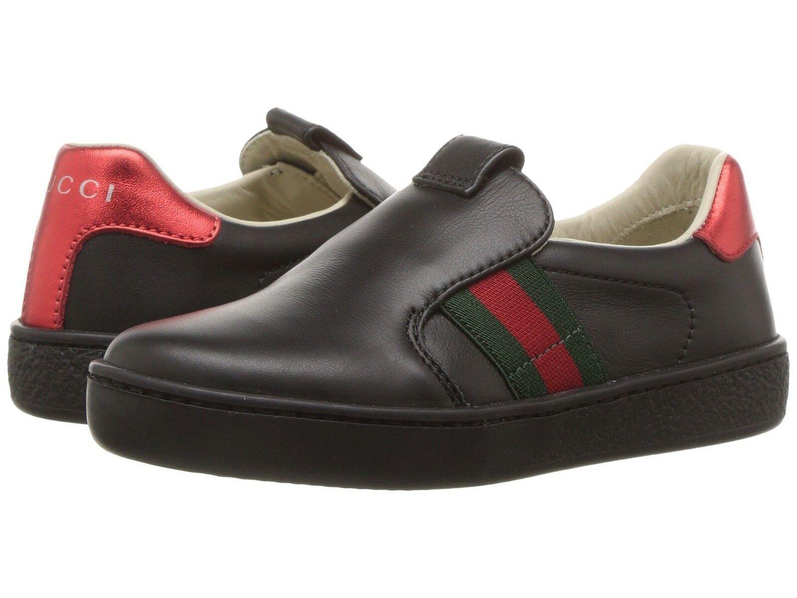 NIB NEW Gucci Ace kids boys girls black leather sneakers slip on 26 10 477539