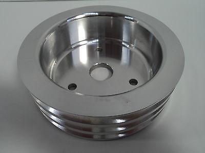SB Chevy Aluminum Crankshaft Pulley 3 Groove SWP Short Water Pump SBC 350 Crank