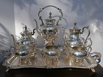 VINTAGE SILVERPLATE TEA SET WITH TILTING TEA POT AND LARGE FOOTED TRAY -MARKED