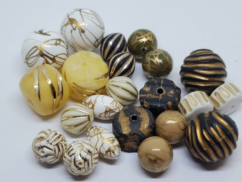 Vintage German Metallic White Black Gold Acrylic Lucite Beads Unique DIY Jewelry