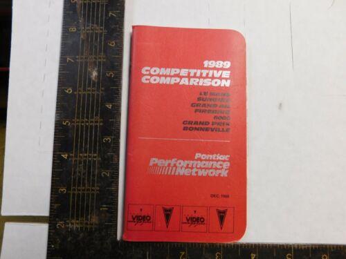 1989 PONTIAC COMPETITIVE COMPARISON BOOKLETS