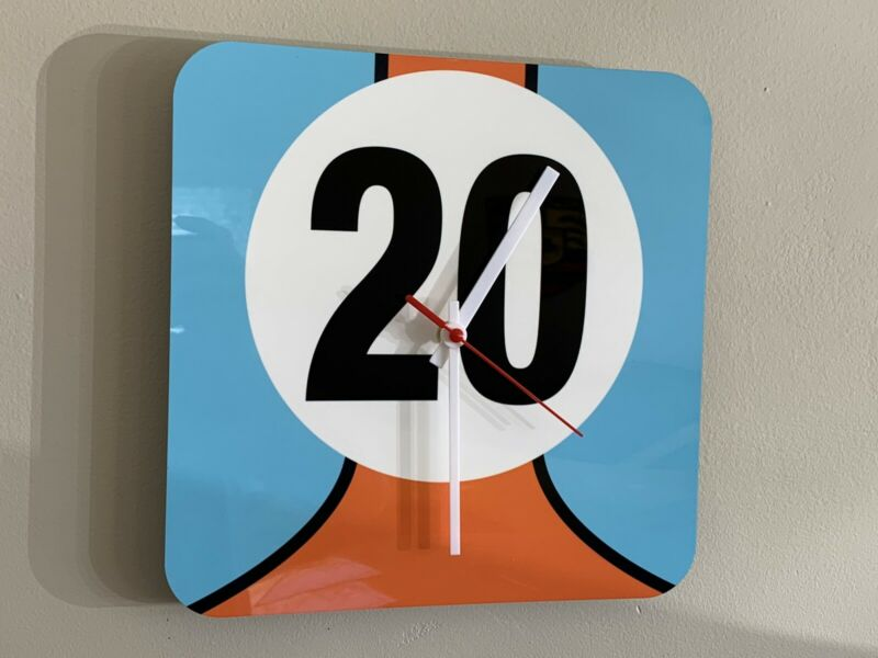 Hi Definition Gulf Racing vintage Style Clock sign