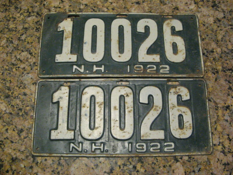 1922 22 NEW HAMPSHIRE NH LICENSE PLATE PAIR #10026