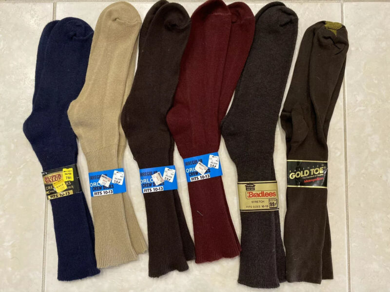 Vintage ORLON Nylon Socks 60s 70s NOS Lot of 6 Sz 10-13 Made in USA Mixed Colors