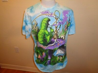 XL Alice In Wonderland Caterpillar Hooka Mushroom Tie Dye T-shirt psychedelic
