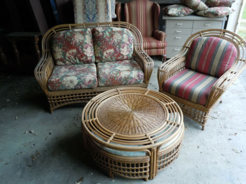 Vintage Wicker Set. Glass Top Coffee Table w/4 Small Chairs, Couch & Chair