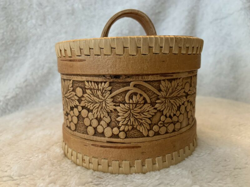 Handmade Wooden round box made in Russia Beautiful hand laced