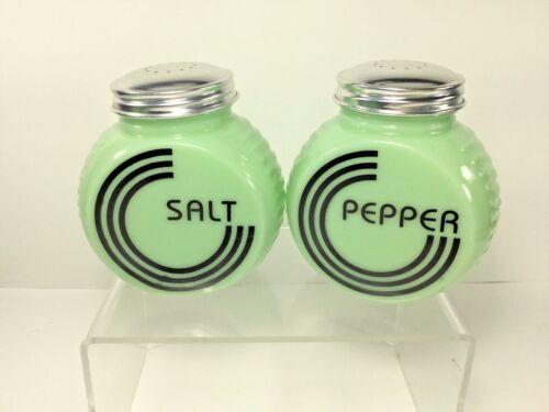 Large, Range / Kitchen Round Art Deco Jadeite Green Glass, Salt & Pepper Set