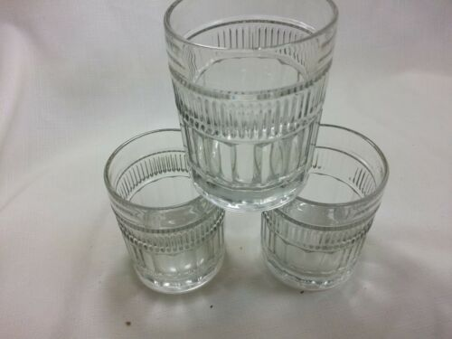 "Set of  3 Anchor Hocking ANNAPOLIS Double Old Fashioned Glass Tumbler 4"" tall"