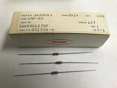 100 Pcs Vishay Dale Rn55d1270f 127 Ohm .5 Watt 1 Cmf-55 Metal Film Resistor