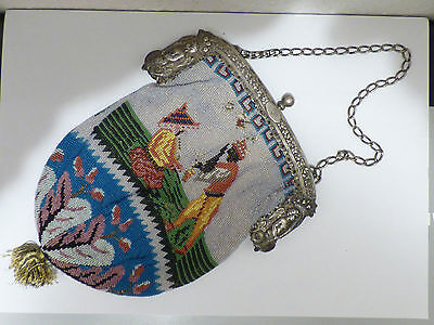 Antik 13 Löt Silber Tasche Handtasche Kettentasche Perlchen Handarbeit 19th