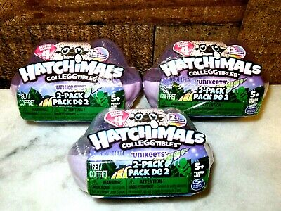 LOT OF 3 HATCHIMALS COLLEGGTIBLES UNIKEETS 2 PACKS~SEASON 4~FOR AGES 5+~NEW