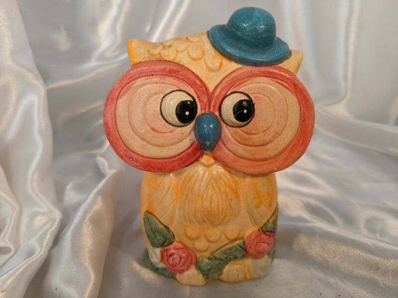 Vintage Yellow Owl Bank Colorful Blue Derby Hat Salmon Pink White Flowers Roses