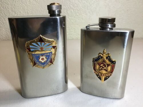 Pair of Soviet Military Stainless Steel Flasks Air Force & KGB
