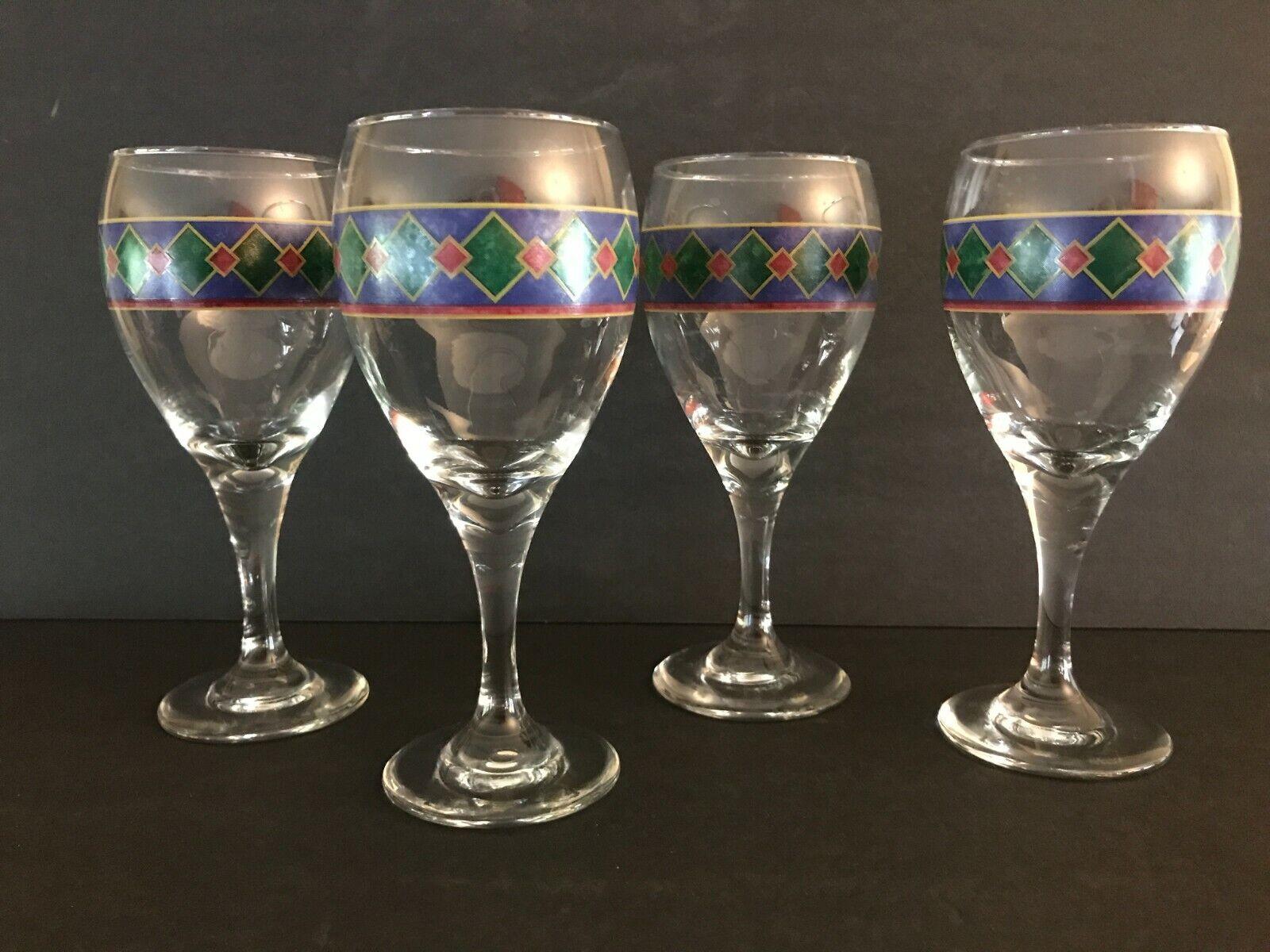 Set Of 4 PFALTZGRAFF AMALFI MEDITERRANEAN 7 3/8 Wine Glass Goblets - $14.99