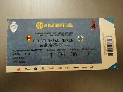 Ticket  Perfect Condition : Belgique - Sans Marino 10-10-2019 Euro 2020