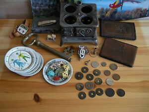 Junk Drawer Lot... Antique World Coins, Vintage, Cast Iron, Wallets, and More