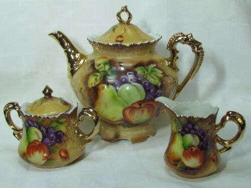 Vintage Lefton Heritage Brown Fruit Tea Set Tea Pot Sugar w/ Lid Creamer