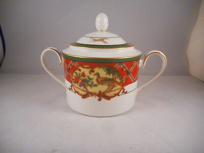 Sugar Bowl & Lid, Noritake China Royal Hunt Pattern (# 3930), Plaid Dogs Animals