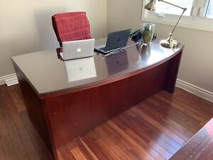 Executive desk, credenza, side desk