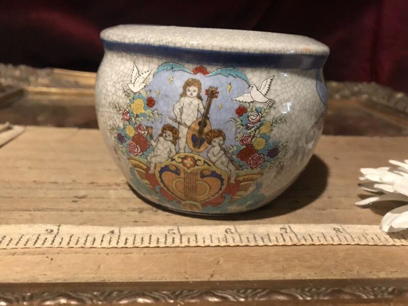 """Asian Porcelain Small Planter Crackle Cherub & Floral Design 4""""x3"""""""