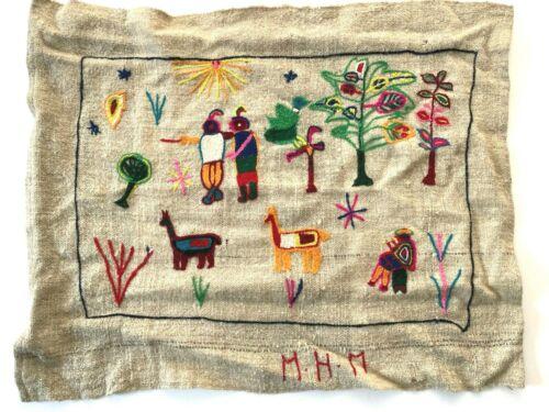 Vintage Peruvian Crewel Embroidered Textile (X66)