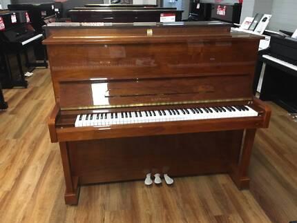 Kaffman K121 Polished Walnut Upright Piano - 5 YEAR WARRANTY