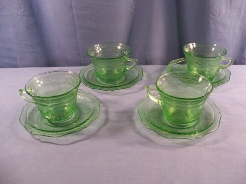 4 Federal Green Depression Glass Patrician Spoke Cup & Saucer Sets