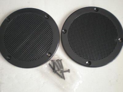 "Vintage speaker grills measure 5 3/8 dia.,  screw holes are 3 3/8"" center-center"