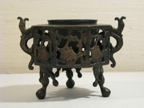 Antique Japanese Bronze Censer.  Gilt Remnants.