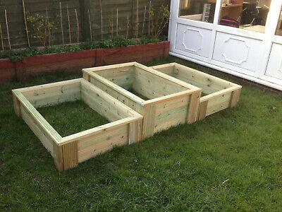 raised bed vegetable garden tanalised wood 4ft x 3ft x 11 inch 120cm x 90cm 27cm
