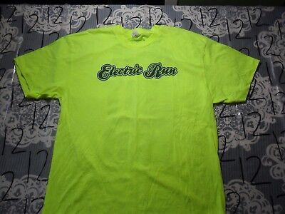 Large- Electric Run Volunteer Neon Yellow American Apparel Brand T- Shirt