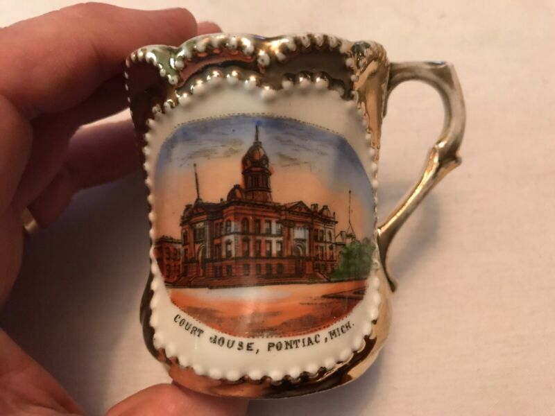 Court House, Pontiac Michigan Vintage Souvenir Cup, Circa 1900