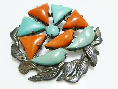 NOUVEAU DECO CHINESE EXPORT STERLING SILVER CORAL TURQUOISE LEAF BROOCH PIN