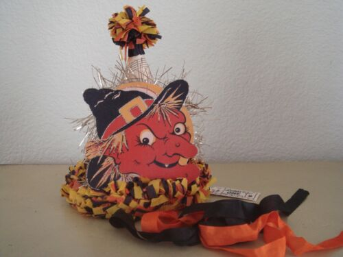 Vintage Style Halloween Paper Party Hat Witch Decal Decoration/Prop