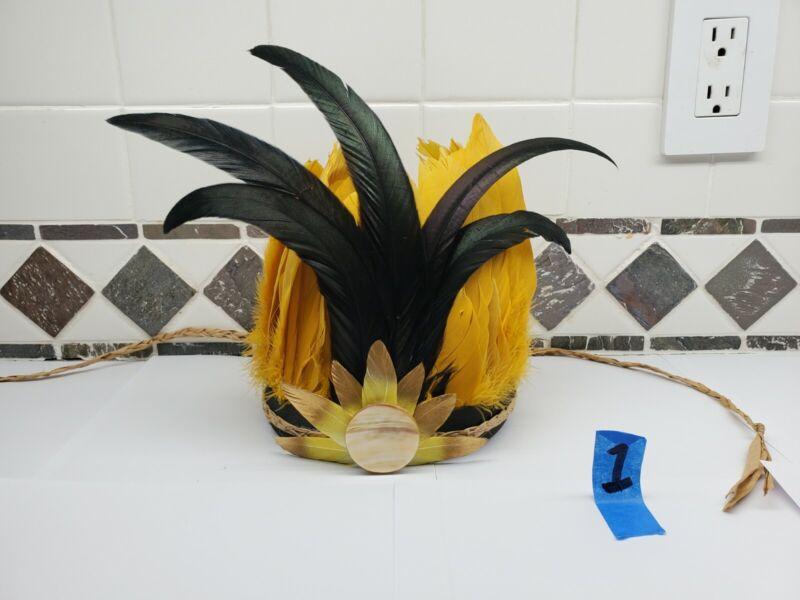 Early Sun Tahitian Hawaiian Hula Headdress Head Set Polynesian Piece Otea Skirt
