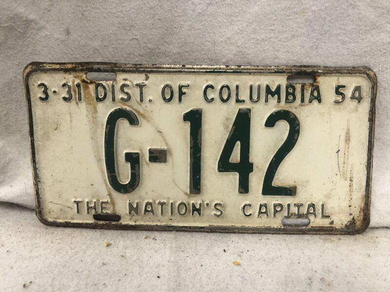 Vintage 1954 District Of Columbia License Plate