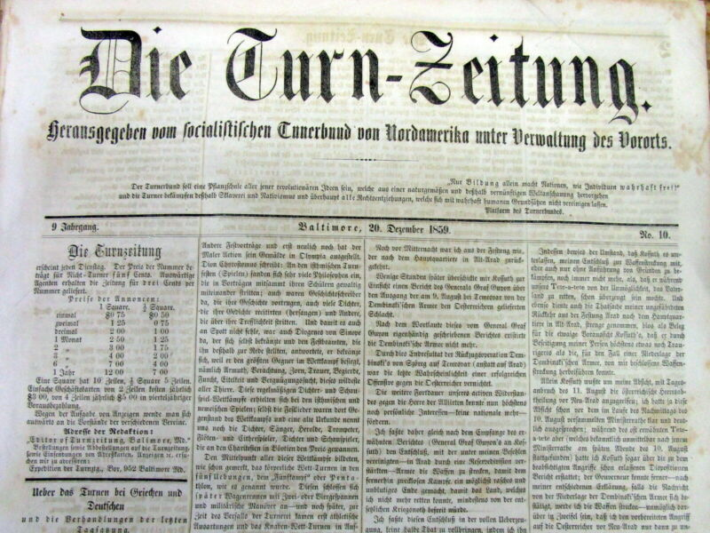 5 rare original 1859 pre Civil War BALTIMORE Maryland German language newspapers