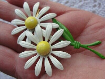 Vintage Estate Enamel Flower Brooch Double Daisy Daisies Bouquet White Yellow Estate Yellow Brooch