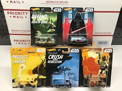 Hot Wheels Star Wars POP Culture Complete Set of Five Real Riders New