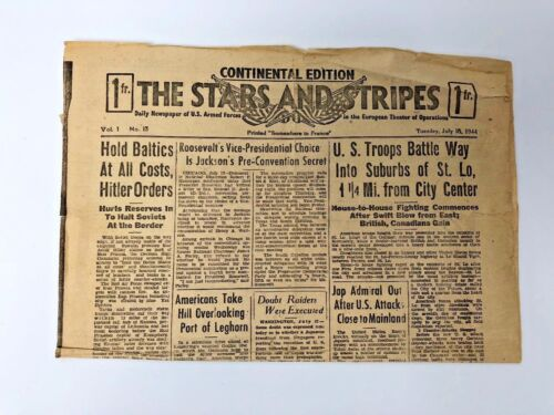 Stars and Stripes Newspaper July 18 1944 - D Day-Continental Edition-France-WWII