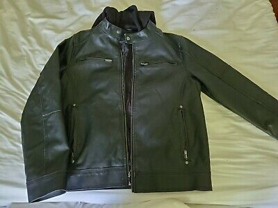 Men's GUESS Leather JACKET Casual Motorcycle COAT Size Small Black